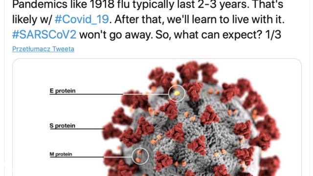 Według eksperta WHO pandemia może trwać dwa lata