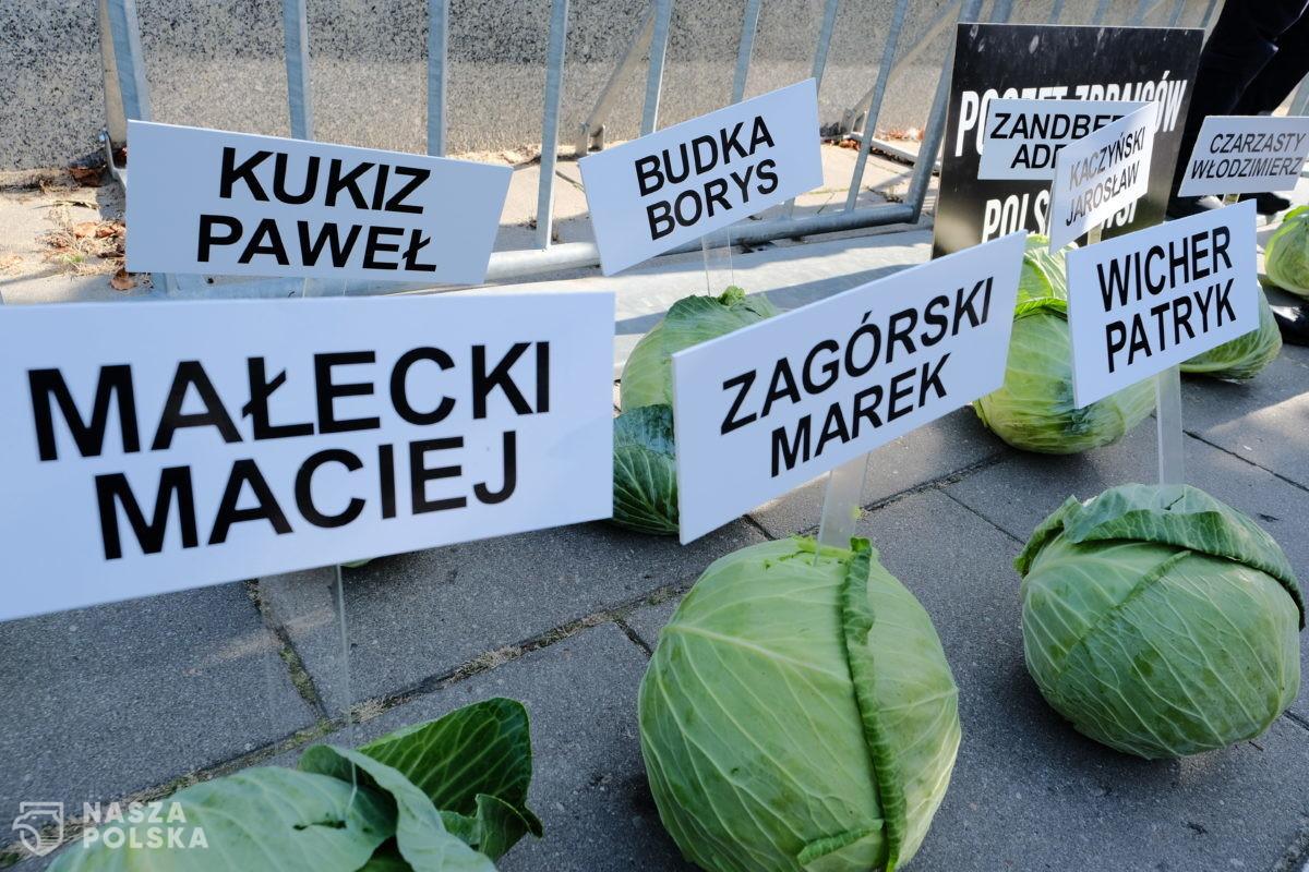 Happening Agrounii przed budynkiem Sejmu w Warszawie