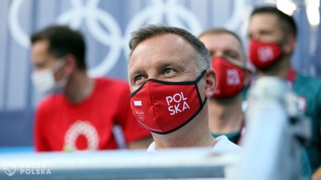 Prezydent Andrzej Duda kibicował polskim olimpijczykom w Tokio