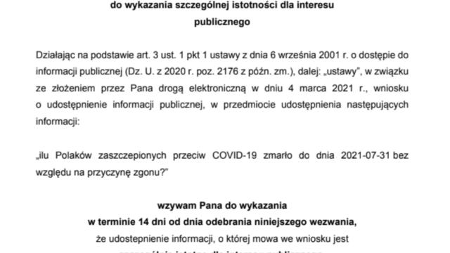 Ministerstwo Zdrowia nie chce ujawnić ilu Polaków zmarło po szczepieniu